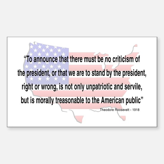 Teddy Roosevelt - 1918 Quote Rectangle Decal
