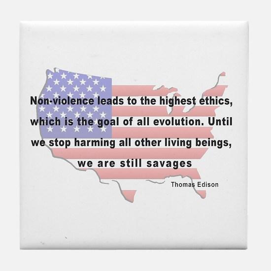 Edison - Non-Violence Quote Tile Coaster