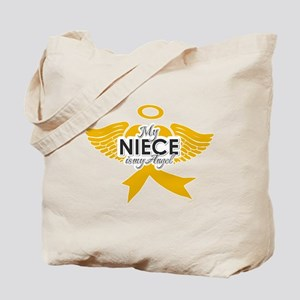 b56a601a53c3 My Niece is my Angel ( childhood cancer) Tote Bag