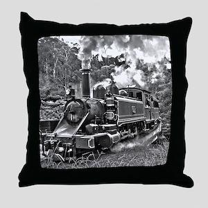 Narrow Gauge Railway Steam Train Engi Throw Pillow