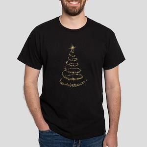 Gold Glitter Christmas Tree Dark T-Shirt