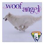 WOOF Angel Square Car Magnet 3