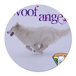 WOOF Angel Round Car Magnet