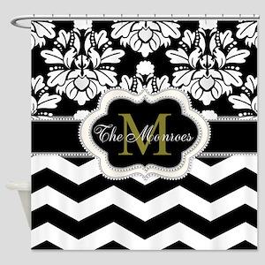 Rose, White and Black Monogram Design Shower Curta
