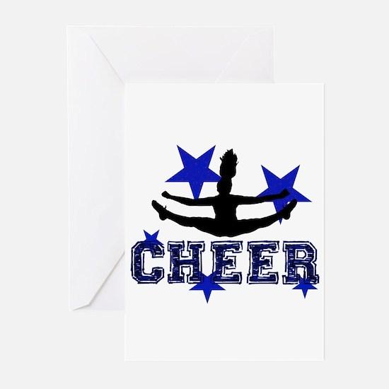 Blue Cheerleader Greeting Cards