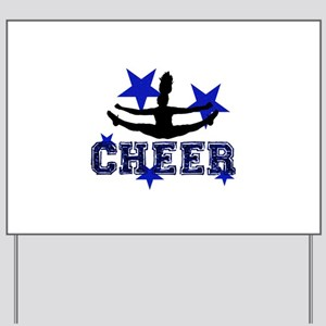 Blue Cheerleader Yard Sign