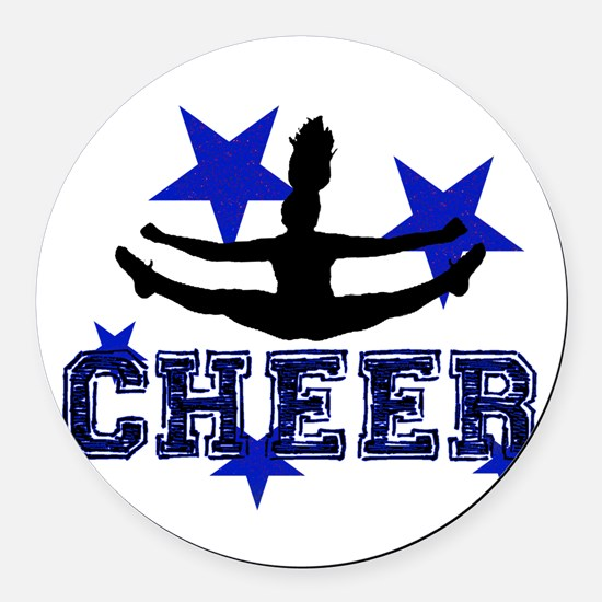 Blue Cheerleader Round Car Magnet