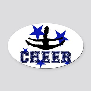 Blue Cheerleader Oval Car Magnet