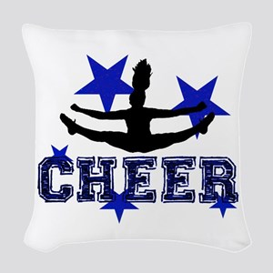 Blue Cheerleader Woven Throw Pillow