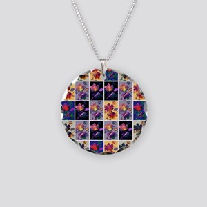 Autumn Leaves Rustic Patchwork Collage Necklace