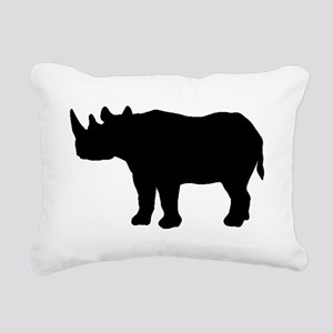 Rhinoceros Silhouette Rectangular Canvas Pillow