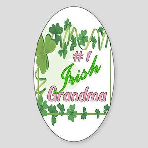 #1 IRISH GRANDMA Oval Sticker