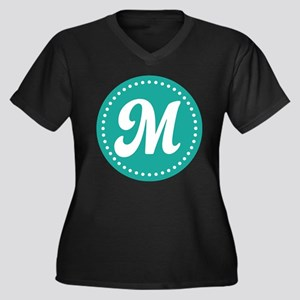 Letter M Women's Plus Size V-Neck Dark T-Shirt