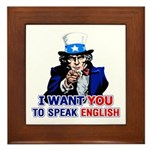 Speak English Framed Tile