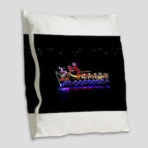 Christmas Ship Burlap Throw Pillow