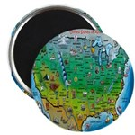 "USA Cartoon Map 2.25"" Magnet (10 pack)"