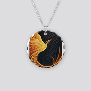 Phoenix Rising Necklace Circle Charm