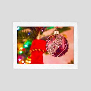 Purple Tree Bauble 5'x7'Area Rug