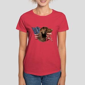 Chocolate Lab Flag Women's Dark T-Shirt