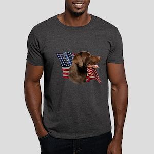 Chocolate Lab Flag Dark T-Shirt