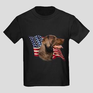 Chocolate Lab Flag Kids Dark T-Shirt