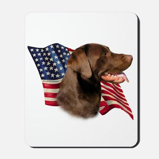 Chocolate Lab Flag Mousepad