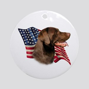 Chocolate Lab Flag Ornament (Round)