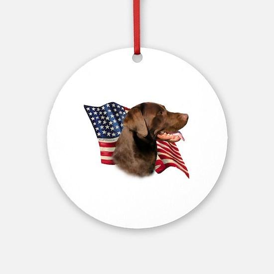 Chocolate Lab Flag Ornament (Round)