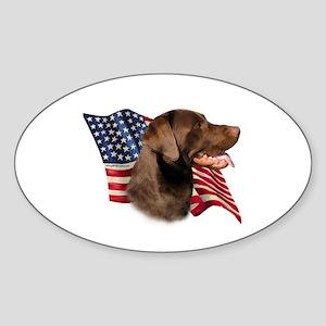 Chocolate Lab Flag Oval Sticker