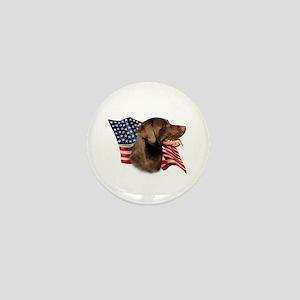 Chocolate Lab Flag Mini Button