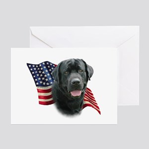 Black Lab Flag Greeting Cards (Pk of 10)
