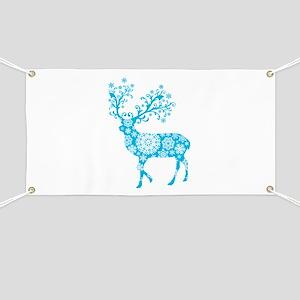 Blue Christmas deer Banner