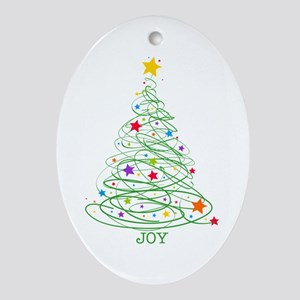 Swirly Christmas Tree Ornament (Oval)