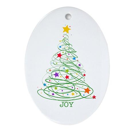 Swirly Christmas Tree Ornament (Oval)