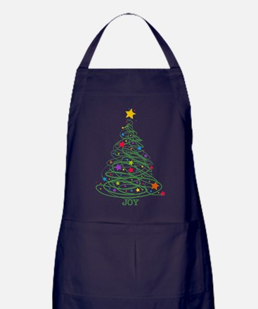 Swirly Christmas Tree Apron (dark)