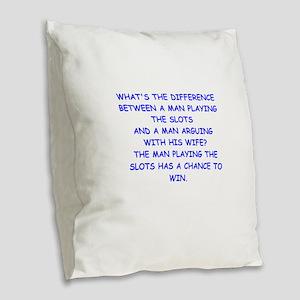SLOTS2 Burlap Throw Pillow