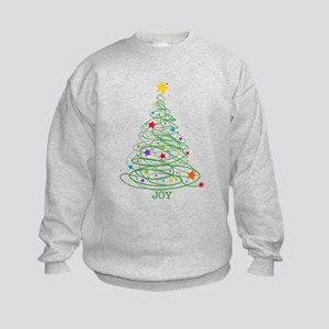 Swirly Christmas Tree Kids Sweatshirt