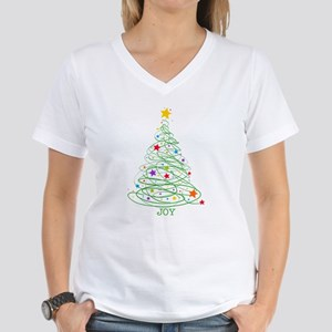 Swirly Christmas Tree Women's V-Neck T-Shirt
