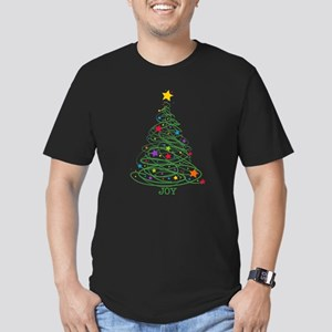 Swirly Christmas Tree Men's Fitted T-Shirt (dark)