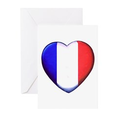 My French Heart Greeting Cards (Pk of 10)