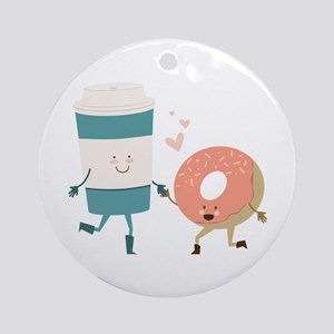 Coffe & Doughut Ornament (Round)