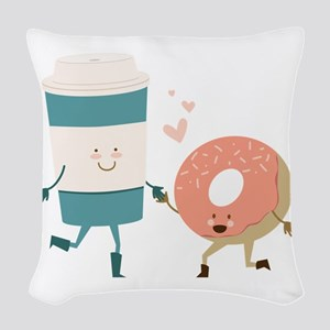 Coffe & Doughut Woven Throw Pillow