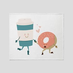 Coffe & Doughut Throw Blanket