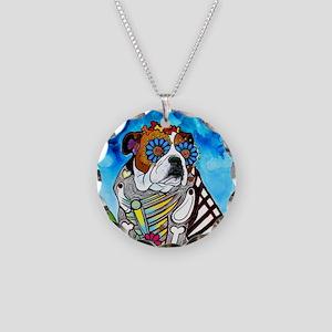 Lou the Bulldog Necklace Circle Charm