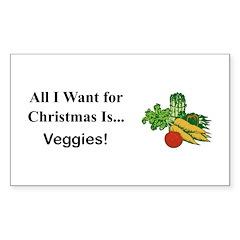 Christmas Veggies Sticker (Rectangle 50 pk)