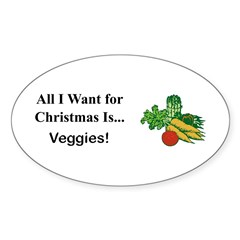 Christmas Veggies Sticker (Oval)