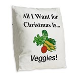 Christmas Veggies Burlap Throw Pillow