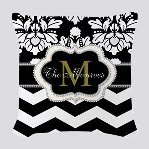 Black, White, Ivory and Gold Monogram Design Woven