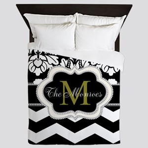 Black, White, Ivory and Gold Monogram Design Queen