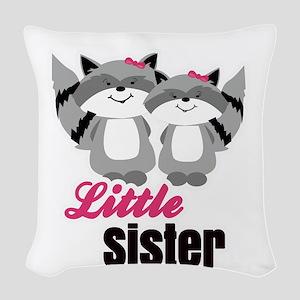 Raccoons Little Sister Woven Throw Pillow